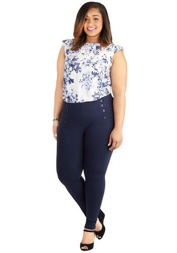 Sail into the Future Pants in Navy - Plus Size - Knit, Blue, Solid, Buttons, Casual, Nautical, Skinny, Variation