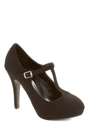 Fashion Show Must Go On Heel in Black - Faux Leather, High, Black, Solid, Prom, Party, Girls Night Out, Minimal, Good, T-Strap, Platform