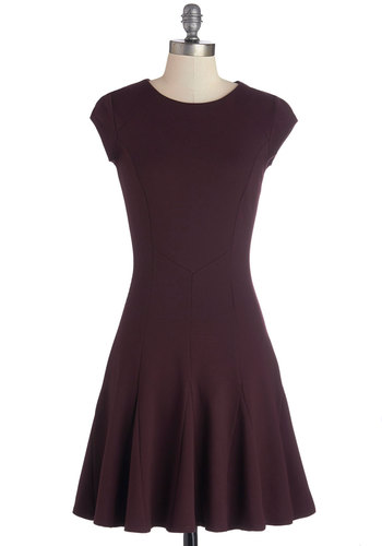 Political Savvy Dress by Closet - Knit, Mid-length, Red, Solid, Party, A-line, Cap Sleeves, Better, Crew, Exposed zipper