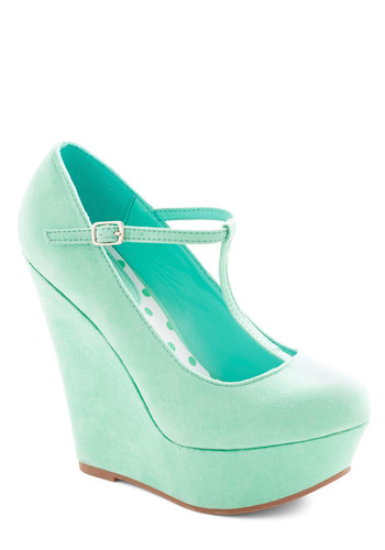 Take It from the Taupe Wedge in Spearmint - High, Faux Leather, Mint, Solid, Party, Pastel, Good, Platform, Wedge, T-Strap, Variation, Girls Night Out
