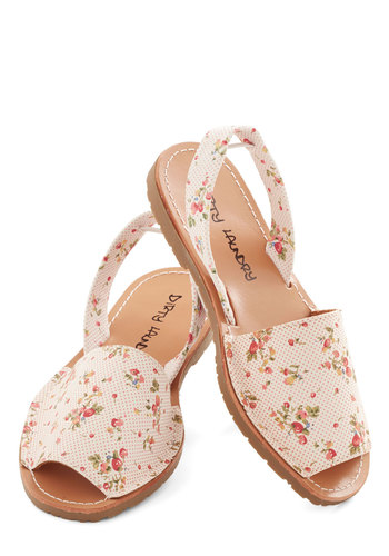 Santa Harmonica Sandal in Blossoms - Flat, Faux Leather, Multi, Floral, Good, Slingback, Tan, Casual, Peep Toe, Summer