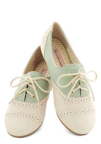 Skipping Through the City Flat in Mint by Bait Footwear - Flat, Faux Leather, Mint, Tan / Cream, Solid, Daytime Party, Menswear Inspired, Vintage Inspired, 20s, 30s, Good, Lace Up, Colorblocking, Variation