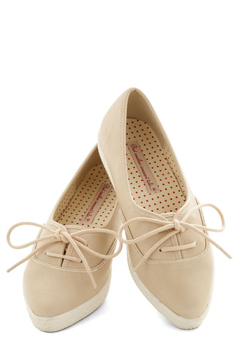 Sweet to See You Flat in Nougat by Bait Footwear - Low, Faux Leather, Cream, Solid, Better, Lace Up, Variation, Casual