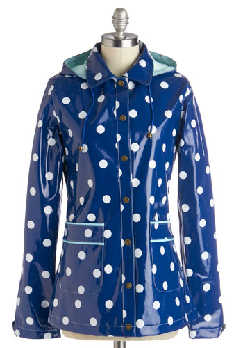 Rain Dots Keep Falling Raincoat by Yumi - Blue, Green, White, Polka Dots, Pockets, Casual, Long Sleeve, Statement, Spring, 1, Mid-length