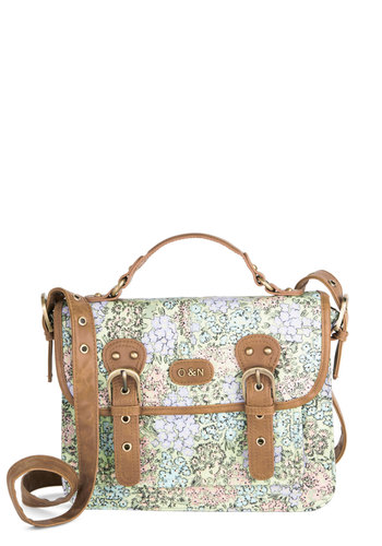 Pastel Portraits Bag by Ollie & Nic - Multi, Tan / Cream, Floral, Buckles, Trim, Better, International Designer, Woven, Mixed Media, Mint, Spring, Pastel