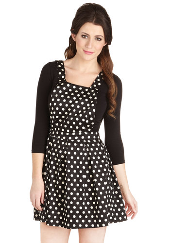 Pure and Stipple Jumper - Cotton, Woven, Jumper, Better, Black, Black, White, Polka Dots, Exposed zipper, Pleats, Short