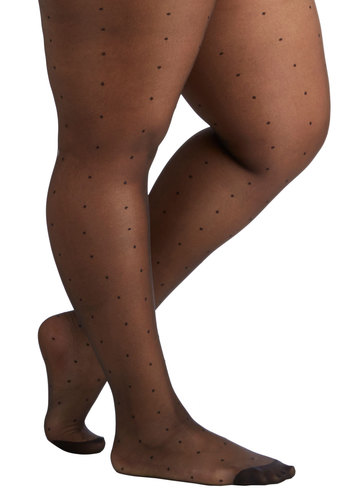 Dot to Be You Tights in Black - Plus Size by Ruby Rocks - Black, Polka Dots, Sheer, Knit, Variation