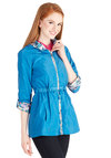 Stem to Stern Raincoat by Yumi - Blue, Solid, Floral, Pockets, Casual, Better, Woven, Mid-length, 2, Spring, Festival, Blue