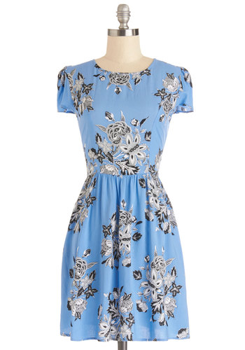 Abundant Applause Dress in Bouquet by Motel - Mid-length, Blue, Black, Grey, White, Floral, Casual, A-line, Short Sleeves, Better, Sundress, Spring