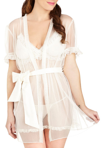 Feminine Night In Intimate Set - Sheer, Knit, White, Solid, Lace, Ruffles, Belted, Bride, Boudoir, Short Sleeves
