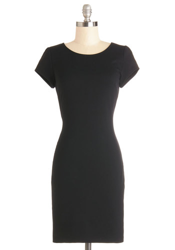 Cast from the Past Dress - Black, Solid, Bows, Cutout, Party, LBD, Sheath / Shift, Cap Sleeves, Good, Crew, Knit, Mid-length