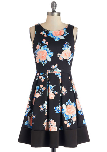 Midnight Blossom Dress - Floral, Pleats, Party, Fit & Flare, Sleeveless, Better, Scoop, Knit, A-line, Spring, Multi, Blue, Pink, Black, Mid-length