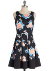 Midnight Blossom Dress - Multi, Floral, Pleats, Party, Fit & Flare, Sleeveless, Better, Scoop, Knit, Mid-length, Black, Daytime Party, A-line, Spring, Summer