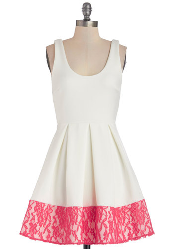 Floral di Latte Dress in White - White, Solid, Lace, Pleats, Daytime Party, Valentine's, A-line, Sleeveless, Good, Scoop, Short, Knit, Pink, Exposed zipper, Party, Top Rated
