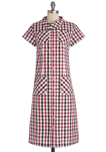 Picnic Planner Dress - Woven, Cotton, Long, Red, Black, White, Checkered / Gingham, Buttons, Pockets, Casual, Short Sleeves, Better, Collared, Multi, Shirt Dress, Americana