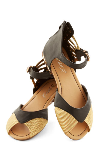 Glimmer and Glam Sandal - Flat, Faux Leather, Black, Gold, Solid, Buckles, Cutout, Party, Good, Peep Toe, Studs, Beach/Resort