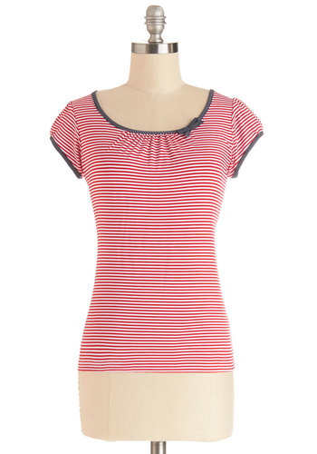The Cutest Cruise Top in Red Stripe - Mid-length, Knit, Red, White, Stripes, Bows, Nautical, Spring, Better, Red, Short Sleeve, Casual, Cap Sleeves, Scoop
