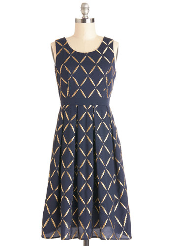 Elegant Inventor Dress - Blue, Gold, Print, Pleats, Party, Holiday Party, A-line, Sleeveless, Better, Scoop, Woven, Long, Embroidery