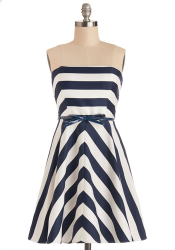 Best for Mast Dress with Blue Belt - Blue, White, Stripes, Belted, Casual, Nautical, A-line, Good, Woven, Strapless, Variation, Spring, Summer