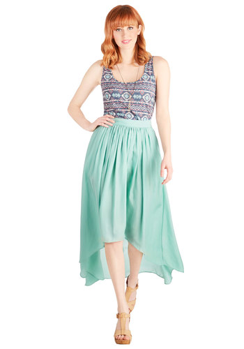Sea the Light Skirt - Long, Green, Solid, Pastel, Spring, Beach/Resort, Woven, Green, Casual, High Waist, Full, Summer, Good