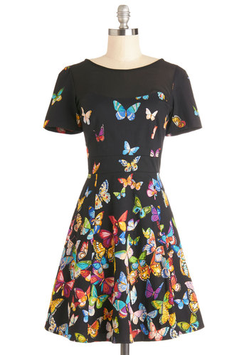 Flutter to the Fete Dress - Black, Multi, Print with Animals, Party, A-line, Short Sleeves, Better, Sheer, Mid-length
