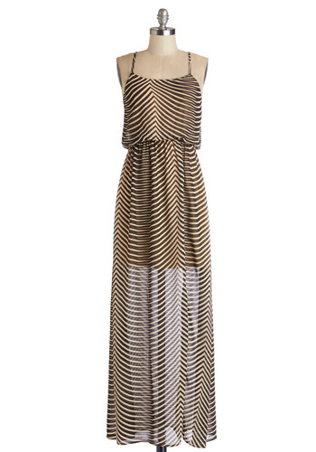 Barcelona Hopping Dress - Tan / Cream, Black, Stripes, Casual, Beach/Resort, Maxi, Spaghetti Straps, Good, Chiffon, Sheer, Woven, Long, Safari, Festival, Summer