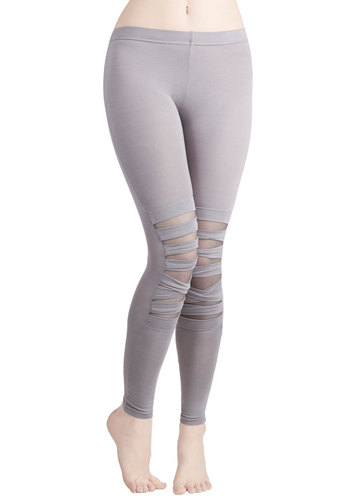Band-to-Band Leggings in Smoke - Sheer, Knit, Grey, Solid, Urban, Skinny, Variation