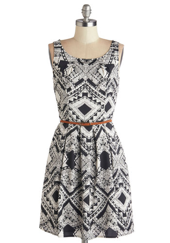 Graphic Gourmet Dress in Abstract - Chiffon, Woven, Black, White, Print, Pockets, Belted, Casual, A-line, Tank top (2 thick straps), Better, Scoop, Variation, Mid-length