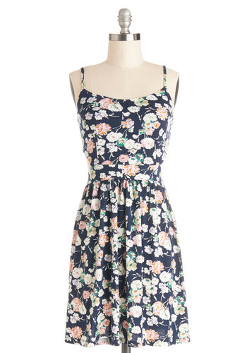 Blossoming Bouquet Dress - Mid-length, Jersey, Knit, Multi, Floral, Cutout, Casual, A-line, Spaghetti Straps, Good, Scoop, Sundress, Spring, Summer
