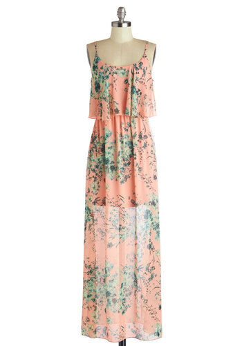 Heart's Aflutter Dress - Woven, Sheer, Long, Pink, Green, Floral, Casual, Maxi, Spaghetti Straps, Good, Scoop, Tiered, Beach/Resort, Boho, Sundress, Spring, Summer, Festival