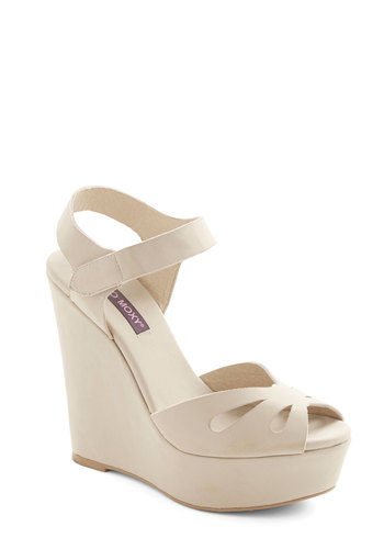 Punch Bowl Planner Wedge in Cream - Spring, Solid, Cutout, Party, Daytime Party, Better, Platform, Wedge, Peep Toe, Cream, Variation