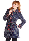 Darling and Dotted Coat - Spring, 1, Blue, Polka Dots, Buttons, Epaulets, Belted, Casual, Long Sleeve, Better, Blue, Coral, Trim