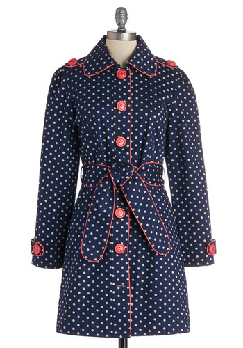 Darling and Dotted Coat - Spring, Blue, Polka Dots, Buttons, Epaulets, Belted, Casual, Long Sleeve, Better, Blue, Coral, Trim, Long, Cotton, Woven, 1
