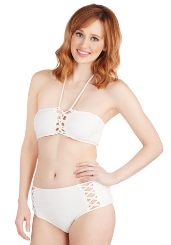 Poolside Cocktails Two-Piece Swimsuit by Motel - Knit, Sheer, White, Solid, Cutout, Beach/Resort, Summer