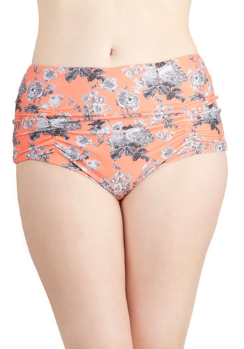 Greyscale the Seas Swimsuit Bottom - Knit, Orange, Multi, Floral, Ruching, Beach/Resort, High Waist, Summer