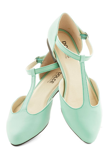 Favorite Treats Flat in Mint - Flat, Faux Leather, Mint, Solid, Daytime Party, Pastel, T-Strap, Variation