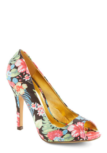 Garden of Glam Heel - High, Woven, Floral, Party, Girls Night Out, Daytime Party, Good, Multi, Peep Toe