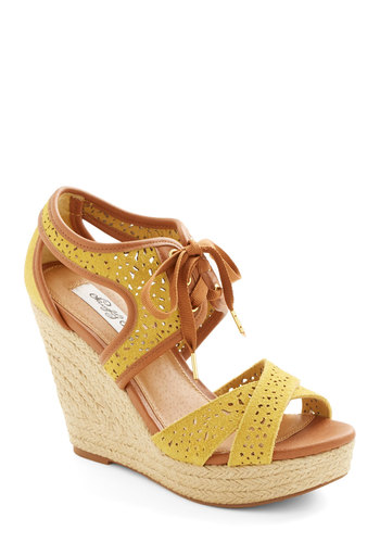 Bali Breeze Wedge in Sunshine - High, Leather, Woven, Yellow, Tan / Cream, Cutout, Daytime Party, Spring, Platform, Wedge, Espadrille, Lace Up, Variation, Beach/Resort, Summer