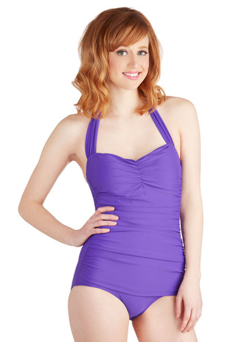 Bathing Beauty One-Piece Swimsuit in Violet by Esther Williams - Purple, Solid, Vintage Inspired, Halter, Summer, Pinup, Best Seller, Beach/Resort, Rockabilly, 50s, Press Placement, Contour