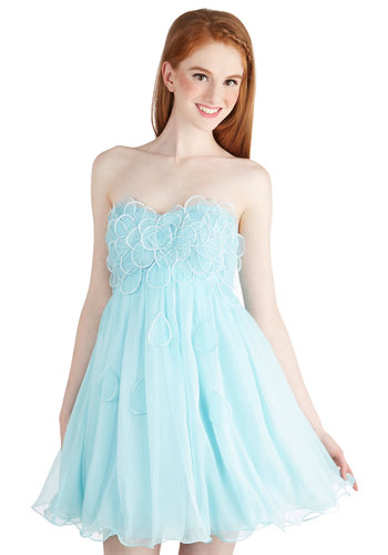 Raining Petals Dress in Aqua - Chiffon, Woven, Short, Blue, Solid, Embroidery, Special Occasion, Prom, A-line, Strapless, Better, Ruffles, Pastel, Variation, Sweetheart