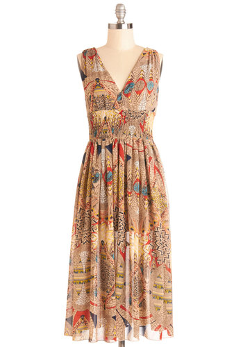 Splendor is the Night Dress - Multi, Red, Yellow, Green, Blue, Black, Print, Casual, A-line, Sleeveless, Good, V Neck, Chiffon, Sheer, Woven, Long, Tan / Cream, Boho, Maxi, Festival