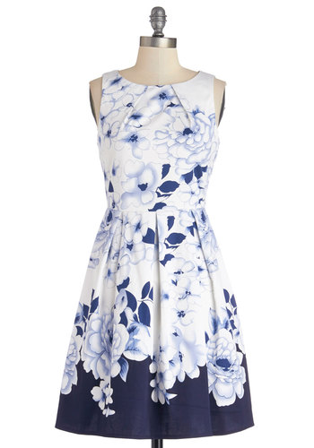 Cool Breeze Dress - Blue, Floral, Pleats, Daytime Party, Sleeveless, Better, Scoop, Cotton, Mid-length, Exposed zipper, Pockets, A-line, Sundress, White, Spring, Summer