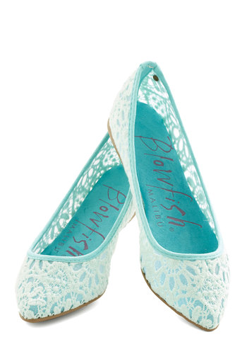 Befitting Beauty Flat in Aqua - Flat, Woven, Blue, Tan / Cream, Solid, Lace, Wedding, Party, Daytime Party, Fairytale, Good, Variation, Pastel