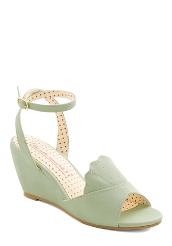 Meant to Beach Wedge in Mint by B.A.I.T. Footwear - Mid, Faux Leather, Mint, Solid, Scallops, Wedding, Daytime Party, Pastel, Variation, Beach/Resort, Green