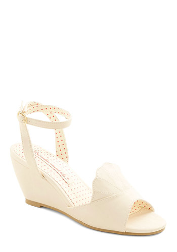 Meant to Beach Wedge in Cream by Bait Footwear - Mid, Faux Leather, Cream, Solid, Scallops, Daytime Party, Wedge, Variation, Beach/Resort, Summer