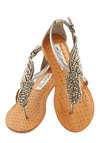 A Flight to See Sandal in Silver - Flat, Faux Leather, Silver, Beads, Wedding, Daytime Party, Beach/Resort, Summer, Variation