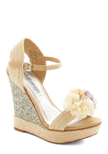 I Thee Wedge - High, Woven, Tan, Silver, Solid, Flower, Daytime Party, Spring, Better, Platform, Wedge, Espadrille, Wedding, Bride, Statement