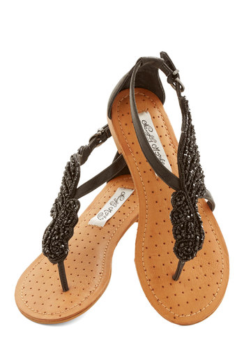 A Flight to See Sandal in Black - Flat, Faux Leather, Black, Beads, Beach/Resort, Summer, Daytime Party, Variation, Statement