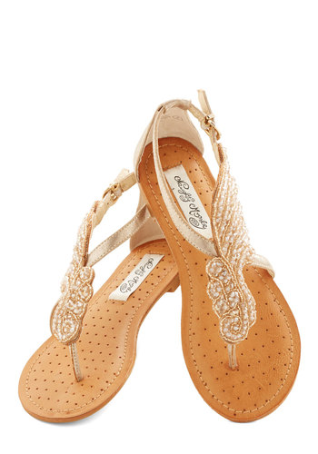 A Flight to See Sandal in Champagne - Flat, Faux Leather, Beads, Beach/Resort, Summer, Wedding, Gold, Daytime Party, Variation