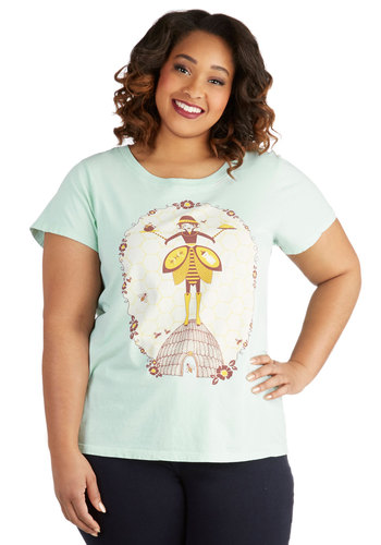 Cute as Can Beekeeper Tee in Plus Size - Jersey, Cotton, Knit, Mint, Multi, Novelty Print, Casual, Eco-Friendly, Short Sleeves, Scoop, Pastel